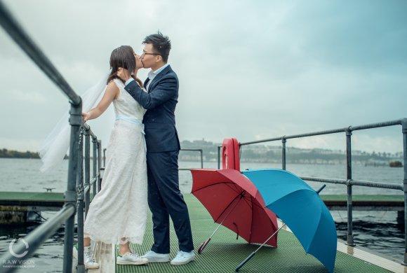 Cardiff 雨天婚纱